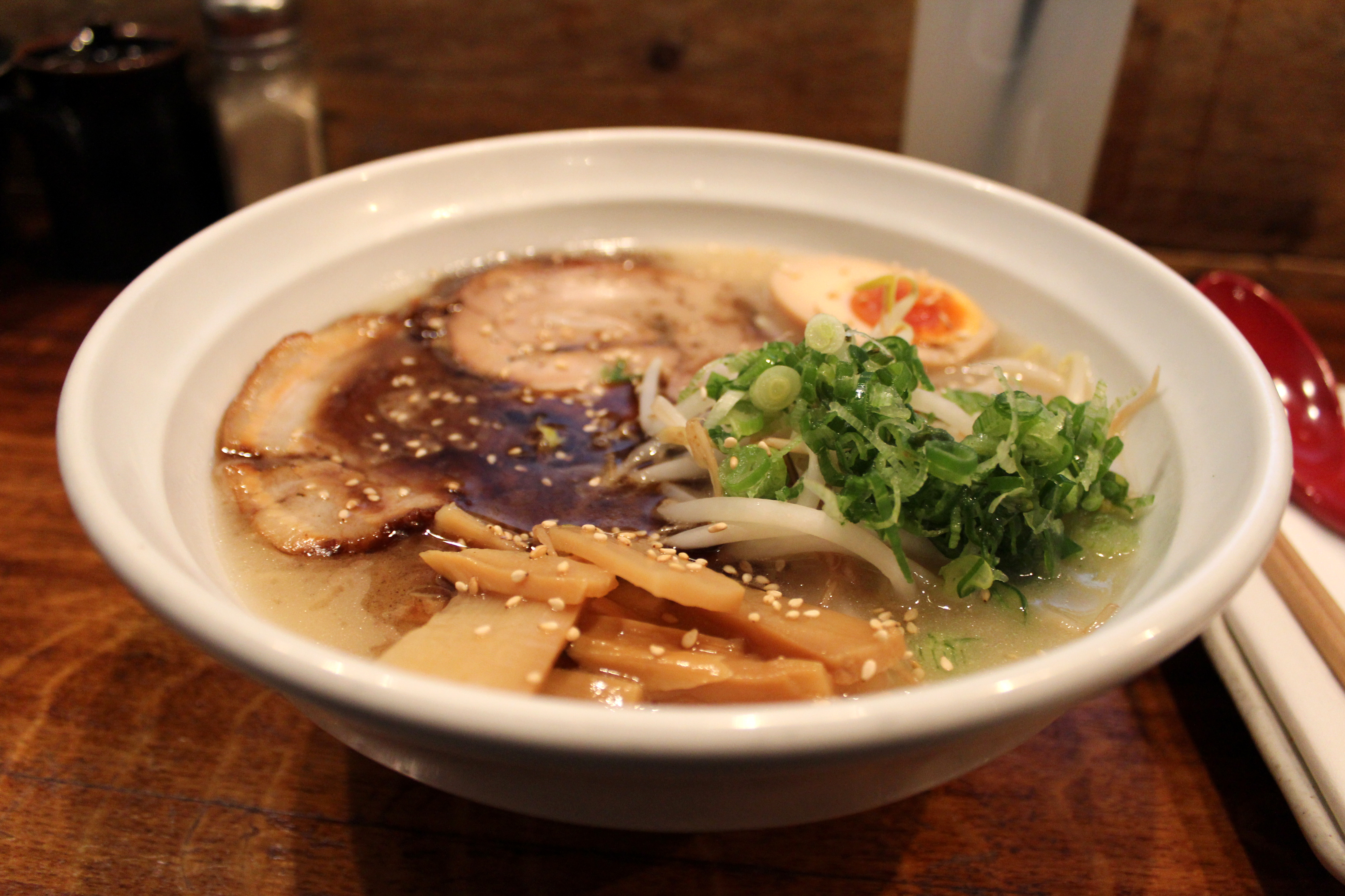 Tonkotsu Ramen: Rich, sea salt-based pork stock and thin noodles ...